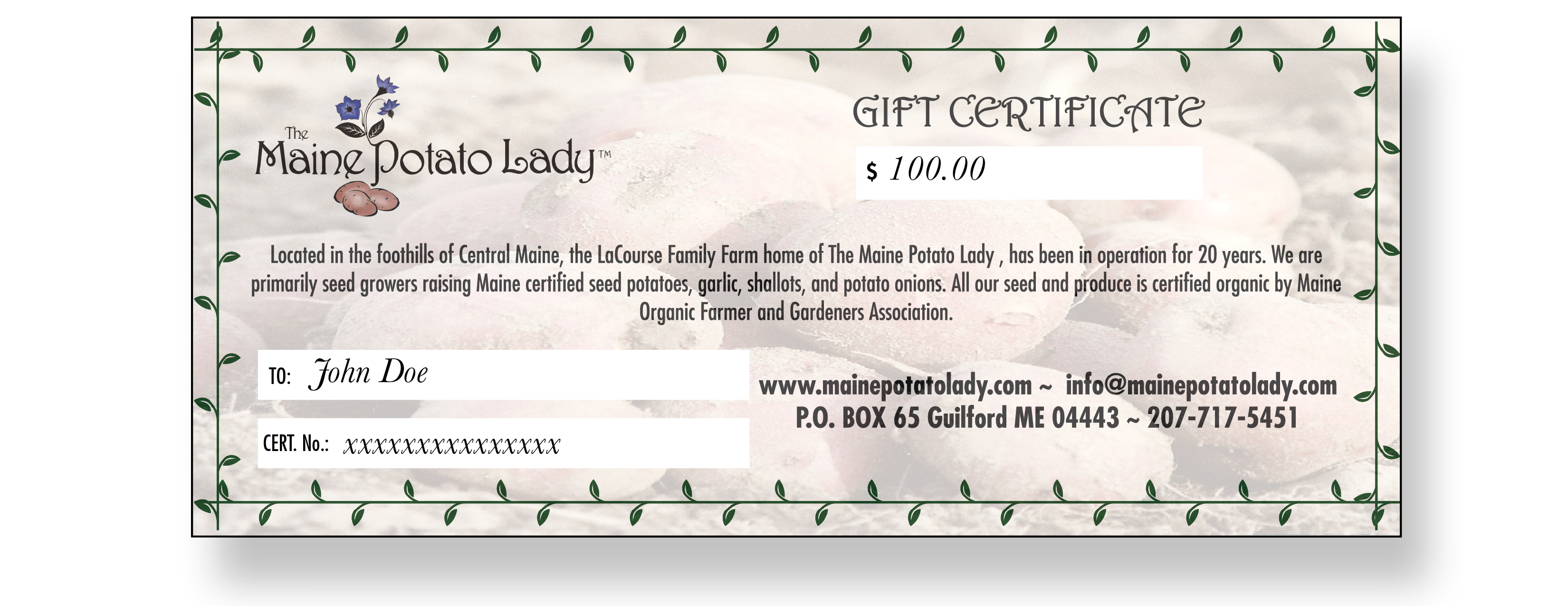 Gift Certificate The Maine Potato Lady